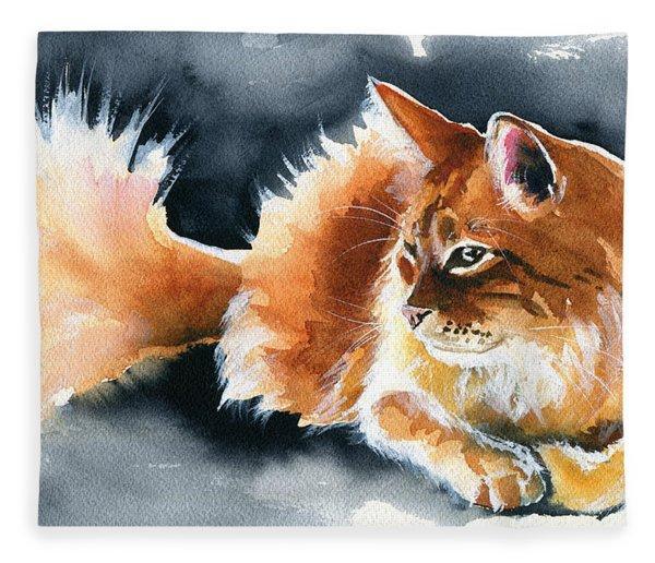 Holy Ginger Fluff - Cat Painting Fleece Blanket