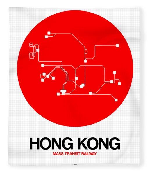 Hong Kong Red Subway Map Fleece Blanket
