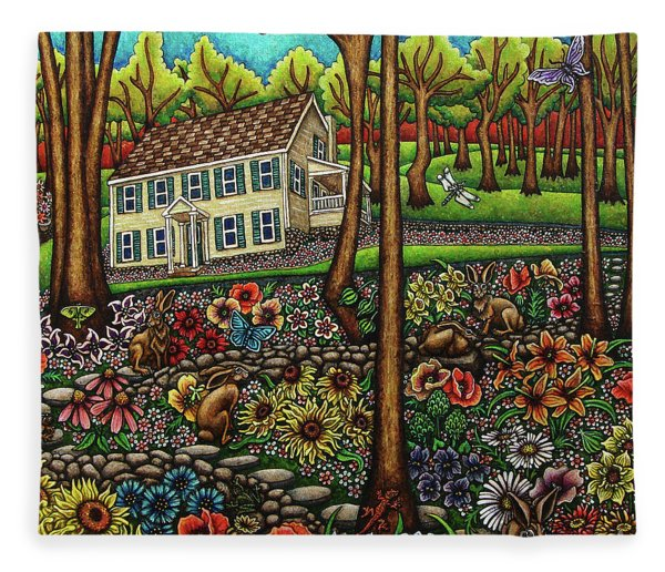 Fleece Blanket featuring the painting House In The Meadow  by Amy E Fraser