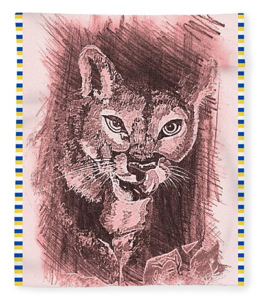 Hungry Cougar Red Fleece Blanket
