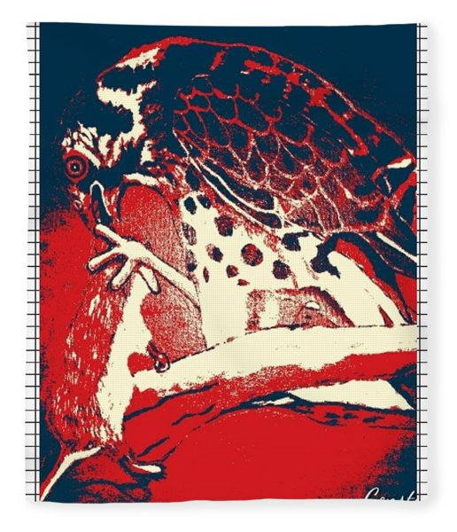 Hungry Falcon Red Fleece Blanket