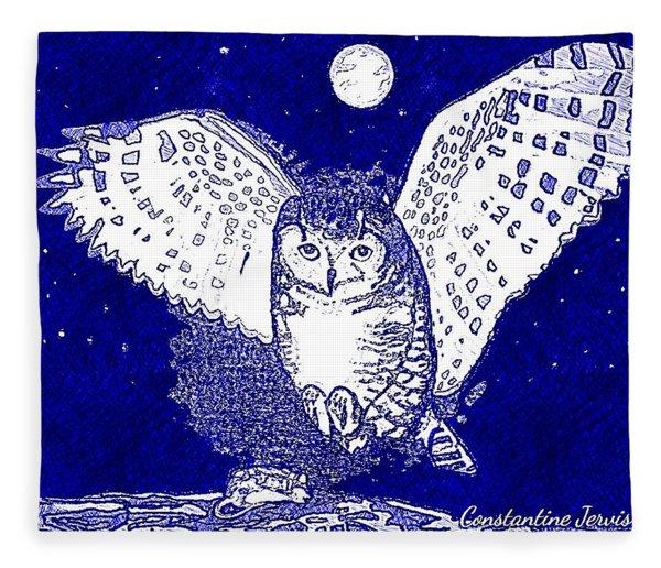 Hunting Owl Blue Fleece Blanket