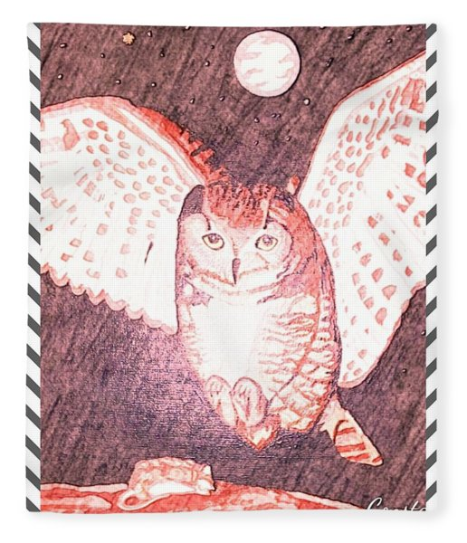 Hunting Owl Red Fleece Blanket