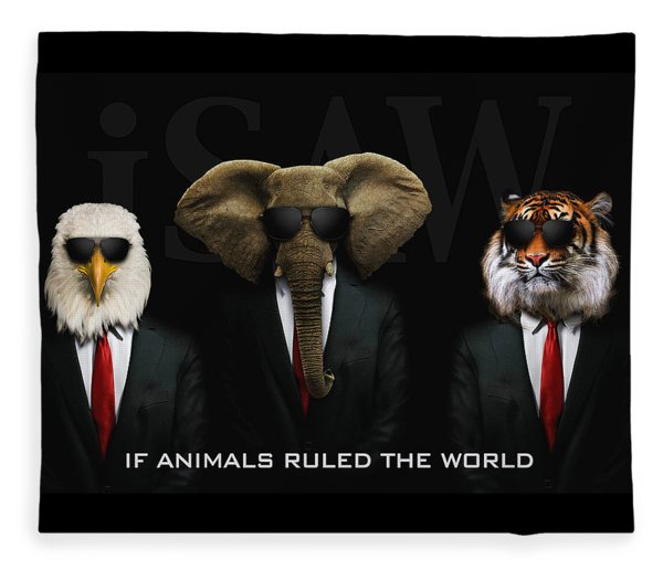 Fleece Blanket featuring the digital art If Animals Ruled The World by ISAW Company
