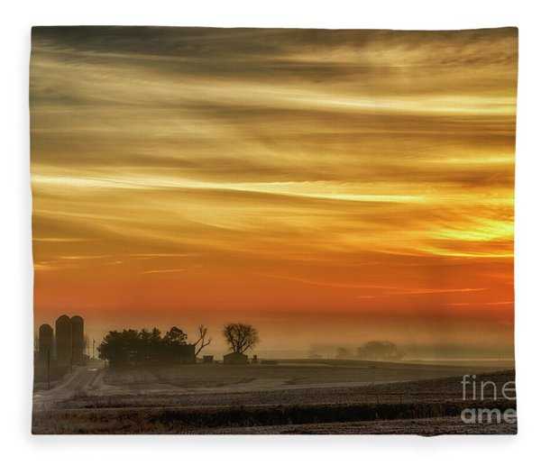 Indiana Sunrise With Mist Fleece Blanket