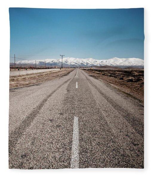 infinit road in Turkish landscapes Fleece Blanket