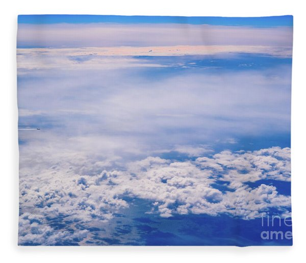 Intense Blue Sky With White Clouds And Plane Crossing It, Seen From Above In Another Plane. Fleece Blanket