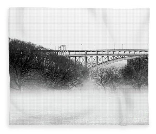 Inwood Hill With Fog Fleece Blanket