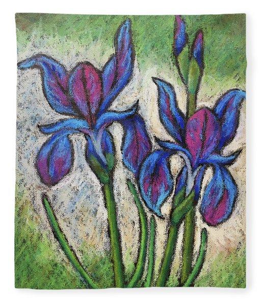 Irises In Bloom Fleece Blanket