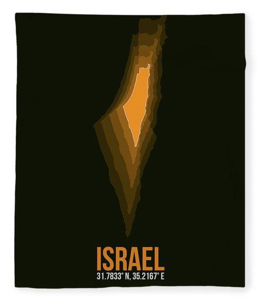 Israel Radiant Map 4 Fleece Blanket