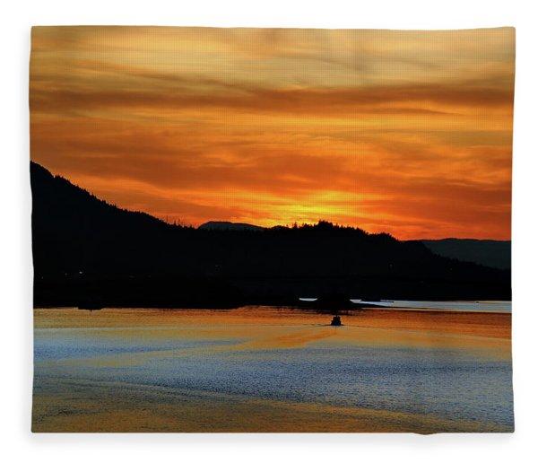 Juneau Alaska Sunset 2019 Fleece Blanket