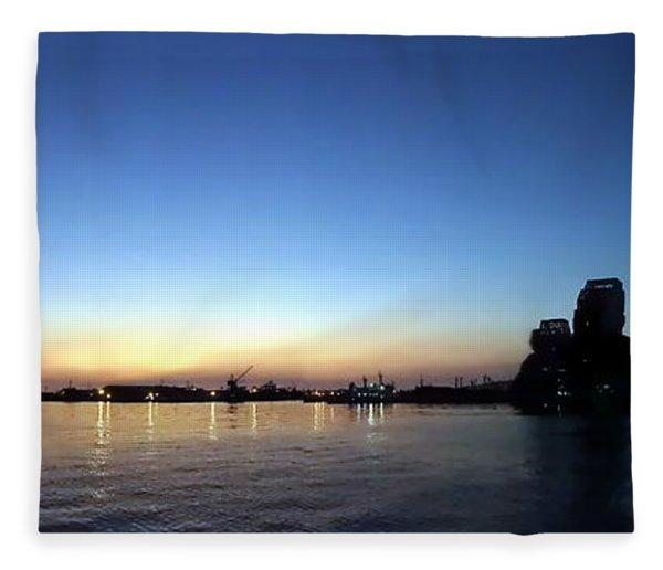 Kaohsiung Port At Dusk Panorama Fleece Blanket