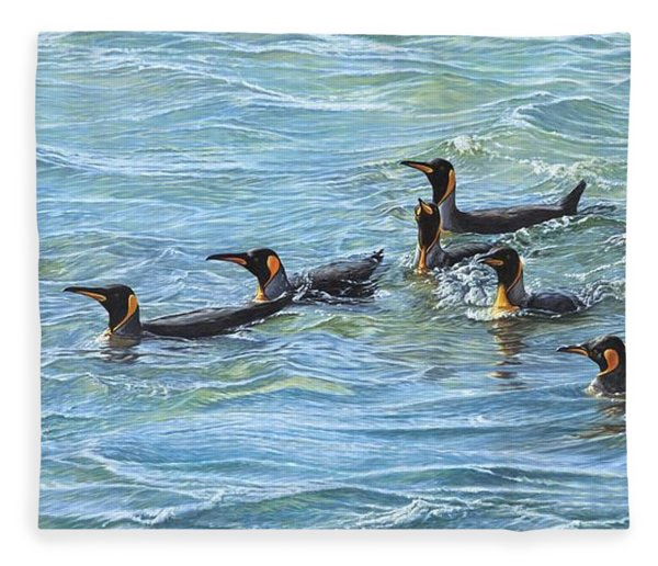Fleece Blanket featuring the painting King Penguins Swimming by Alan M Hunt