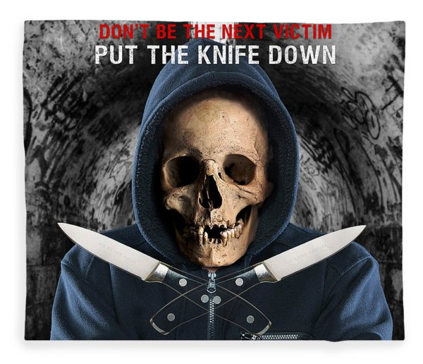 Fleece Blanket featuring the digital art Knife Crime Part 2 - The Next Victim by ISAW Company