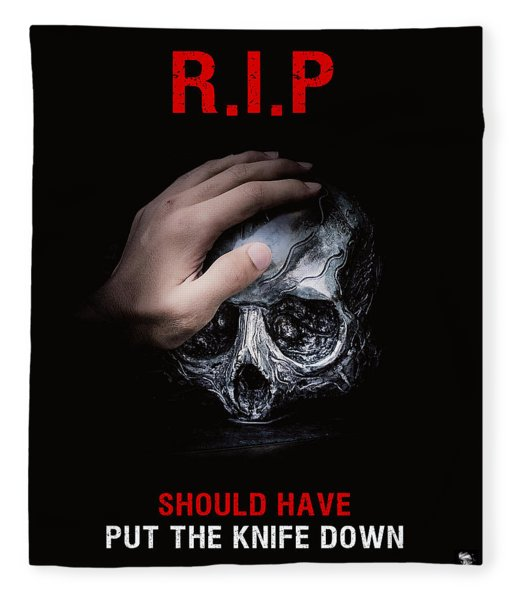 Fleece Blanket featuring the digital art Knife Crime Part 3 - Rest In Peace by ISAW Company