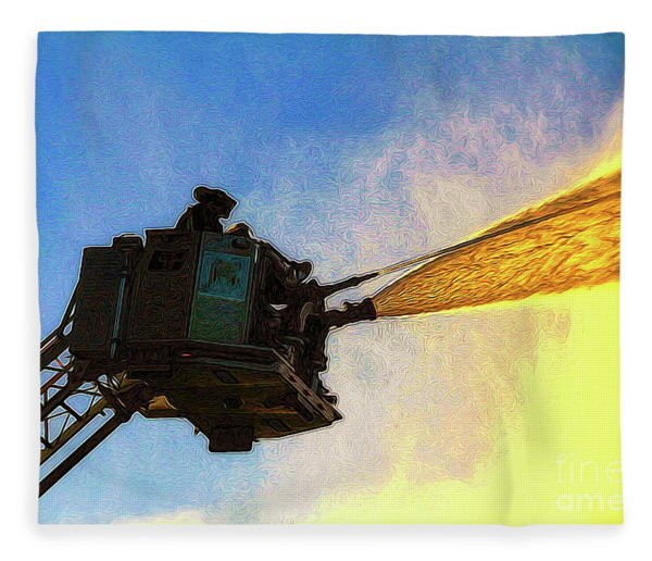 Ladder Operation At Dusk Fleece Blanket