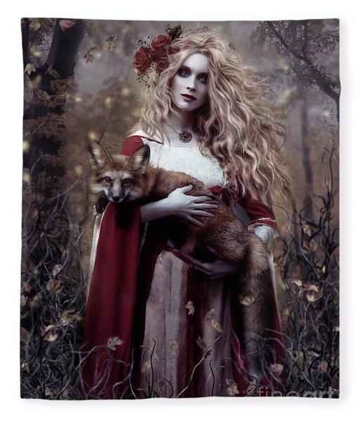 Lady And The Fox Fleece Blanket