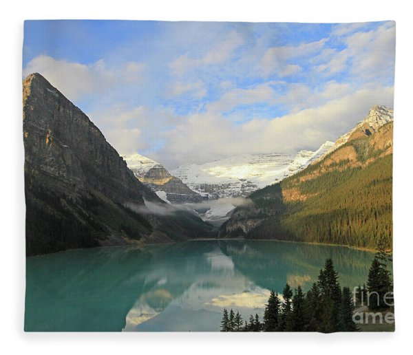 Lake Louise At Dawn Fleece Blanket