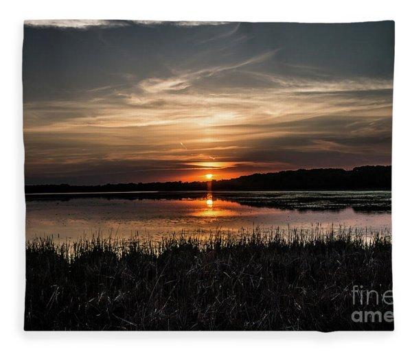 Lake Orrock Sunset Fleece Blanket