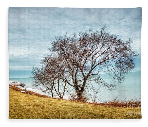 Lakeshore Lonely Tree Fleece Blanket