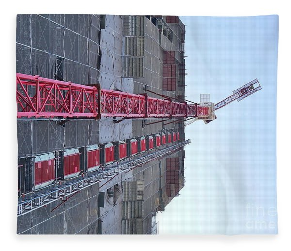 Large Scale Construction Site With Crane Fleece Blanket