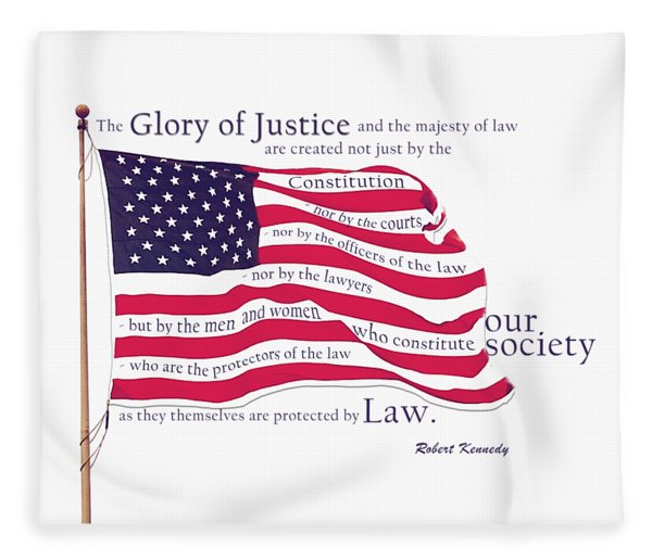 Law And Society American Flag With Robert Kennedy Quote Fleece Blanket