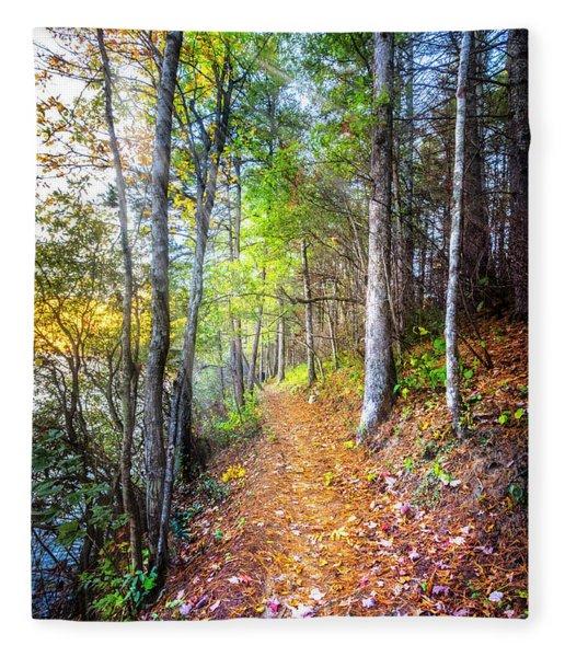 Leaves On The Trail Fleece Blanket