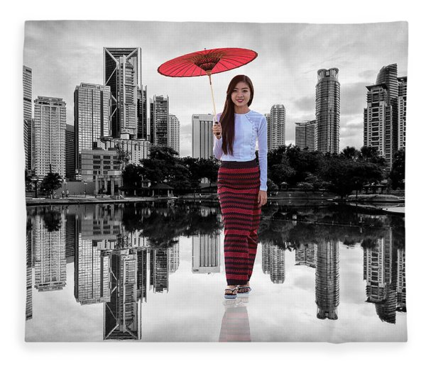 Fleece Blanket featuring the digital art Let The City Be Your Stage by ISAW Company