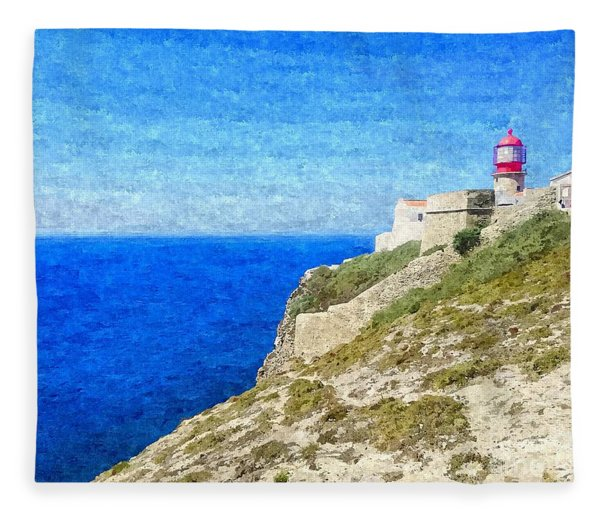 Lighthouse On Top Of A Cliff Overlooking The Blue Ocean On A Sunny Day, Painted In Oil On Canvas. Fleece Blanket