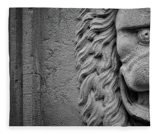 Lion Statue Portrait Fleece Blanket