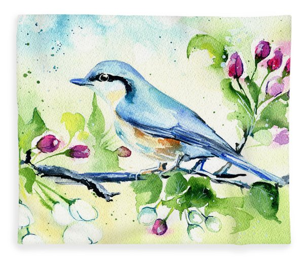 Little Blue Spring Bird Fleece Blanket