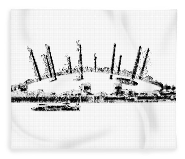 Fleece Blanket featuring the digital art London O2 Arena by ISAW Company