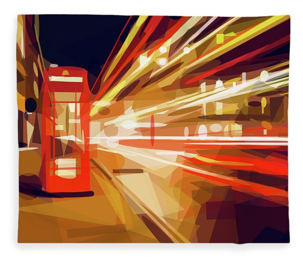 Fleece Blanket featuring the digital art London Phone Box by ISAW Company
