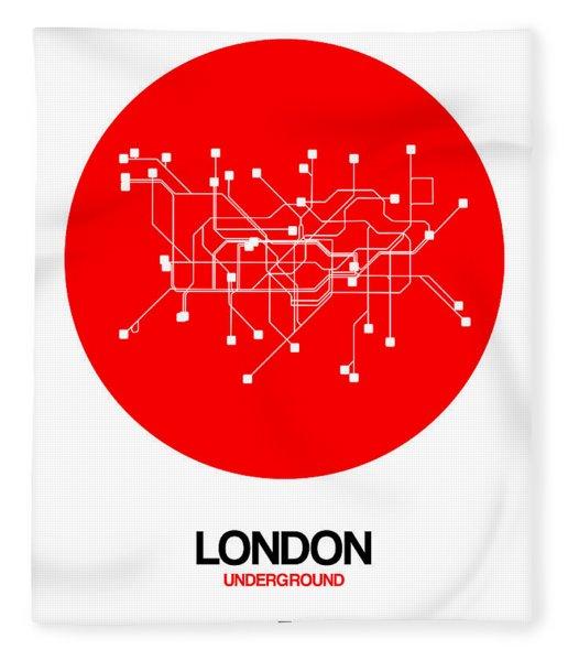 London Red Subway Map Fleece Blanket