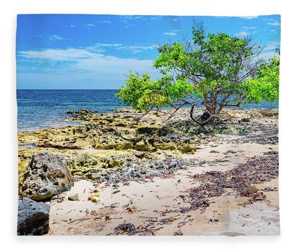 Lone Shore Tree Fleece Blanket
