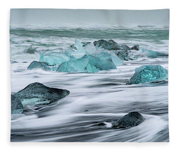 Long Exposure At The Jokulsarlon Ice Beach Fleece Blanket