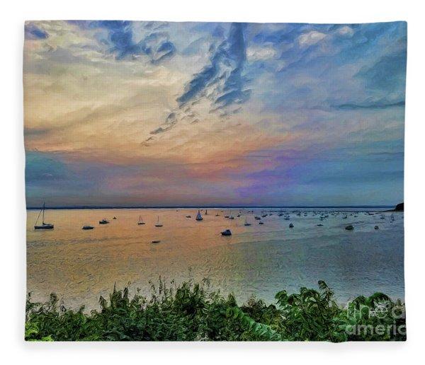 Long Island Sound From Glen Cove Fleece Blanket