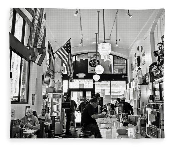 Loris Diner San Francisco Bw Fleece Blanket