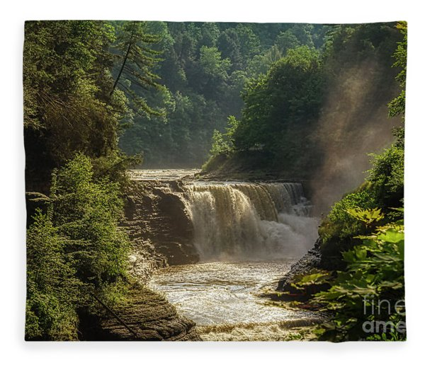 Lower Falls Letchworth State Park Fleece Blanket