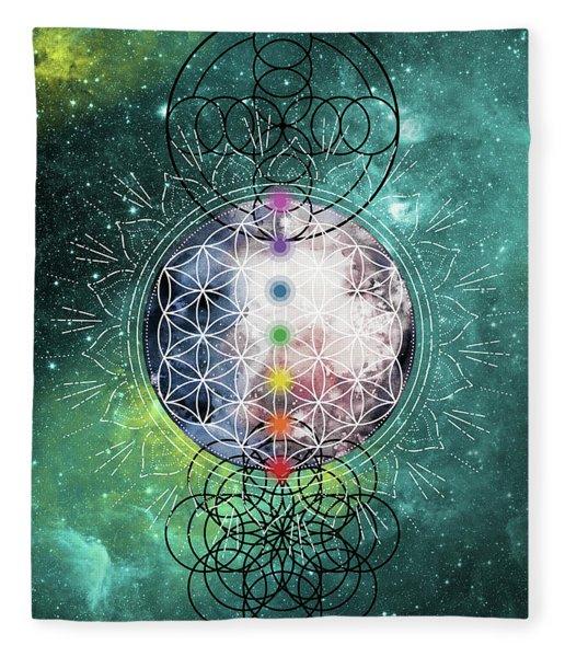 Fleece Blanket featuring the digital art Lunar Mysteries by Bee-Bee Deigner