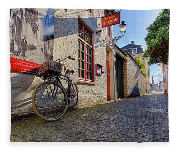 Lux Cobblestone Road Brugge Belgium Fleece Blanket