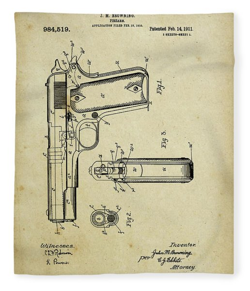M1911 Browning Pistol Patent Fleece Blanket