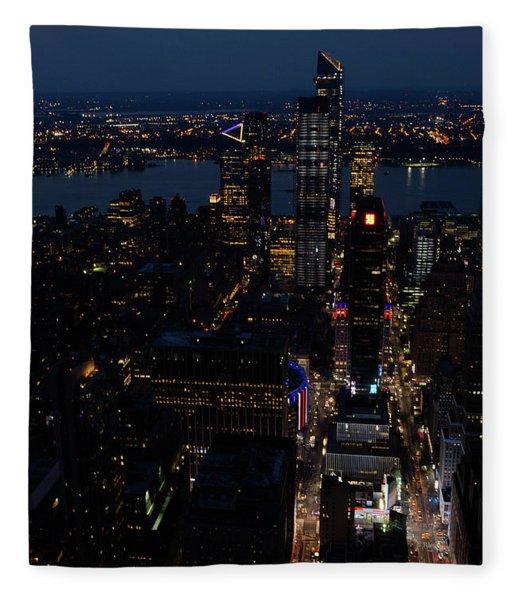 Madison Square Garden At Night Fleece Blanket