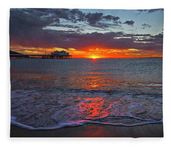 Malibu Pier Sunrise Fleece Blanket