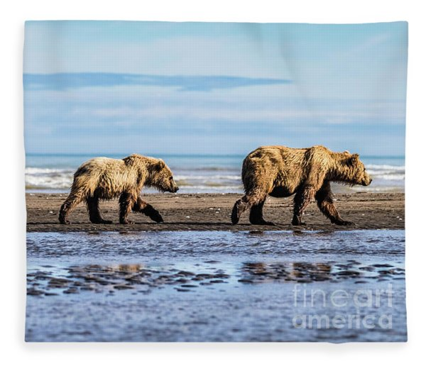 Mama Bear And Her Two Cubs On The Beach. Fleece Blanket