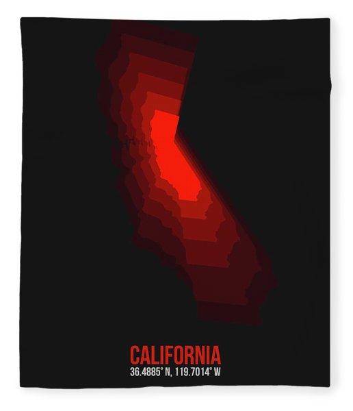Map Of California Red Fleece Blanket