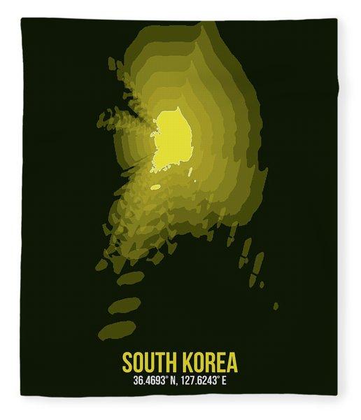 Map Of South Korea 2 Fleece Blanket