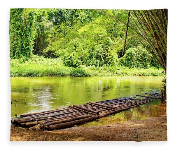 Martha Brae River Bamboo Rafting Fleece Blanket