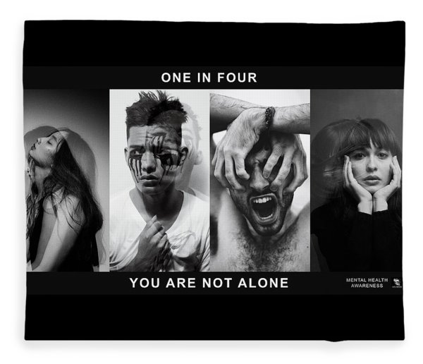 Fleece Blanket featuring the digital art Mental Health Awareness - You Are Not Alone by ISAW Company
