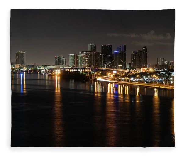 Miami Lights At Night Fleece Blanket